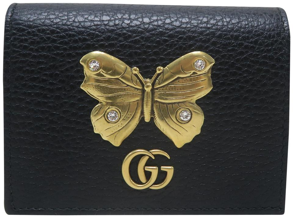 low cost 4bed2 b5b81 Gucci Black Marmont Gg Butterfly Card Case Wallet