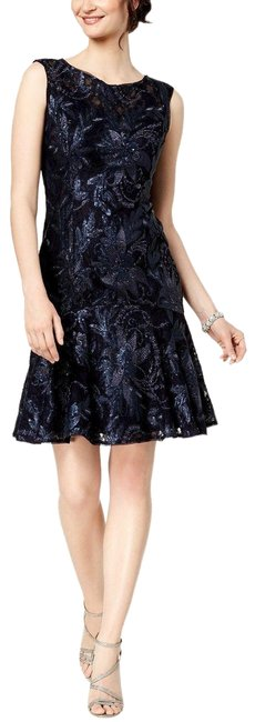 Preload https://img-static.tradesy.com/item/25719018/adrianna-papell-navy-sequined-lace-flutter-skirt-short-casual-dress-size-4-s-0-1-650-650.jpg