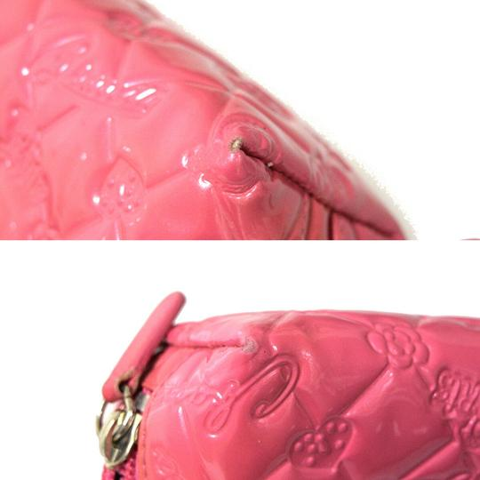 Chanel CHANEL CC Icon Quilted Cosmetic Pouch Hand Bag Patent Leather Pink Image 8