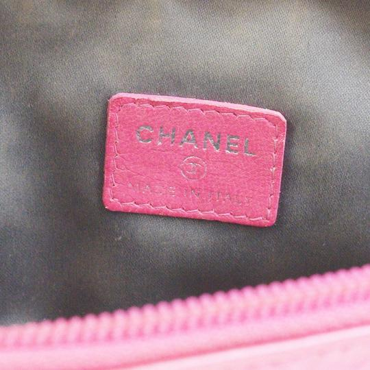 Chanel CHANEL CC Icon Quilted Cosmetic Pouch Hand Bag Patent Leather Pink Image 9