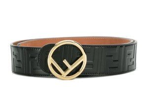 Fendi FOREVER FENDI BLACK GOLD LOGO FF ZUCCA LEATHER BELT ITALY 80 SMALL
