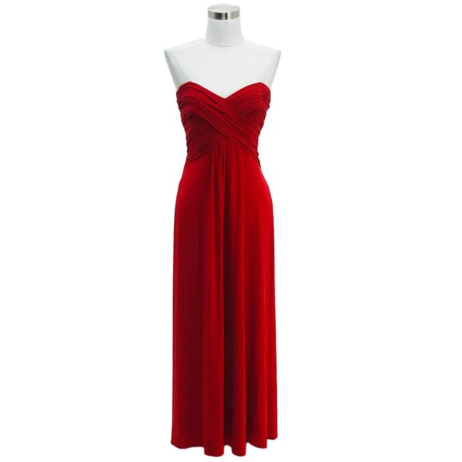 Cache Red XS N651 Designer Solid Strapless Slim Sexy Long Formal Dress Size 2 (XS) Cache Red XS N651 Designer Solid Strapless Slim Sexy Long Formal Dress Size 2 (XS) Image 1