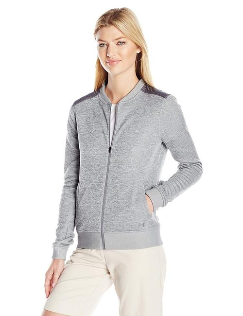 Item - Gray Heather Storm Sweaterfleece Full Zip Bomber Activewear Outerwear Size 16 (XL, Plus 0x)