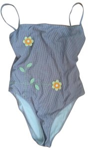 Moschino Moschino Sz 36L Bathing Suit 3D Flowers Small Gingham Print