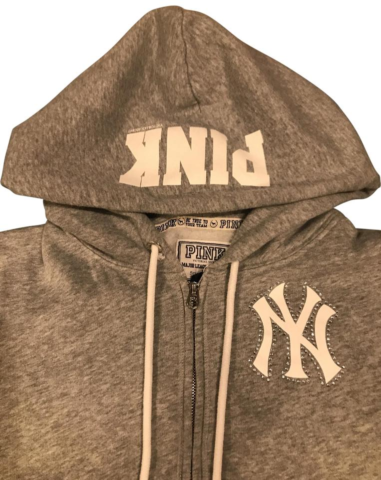 """promo code 35493 011f7 PINK Grey White and Blue Victoria's Secret """"pink"""" Mlb New York Yankees  Activewear Outerwear Size 12 (L)"""