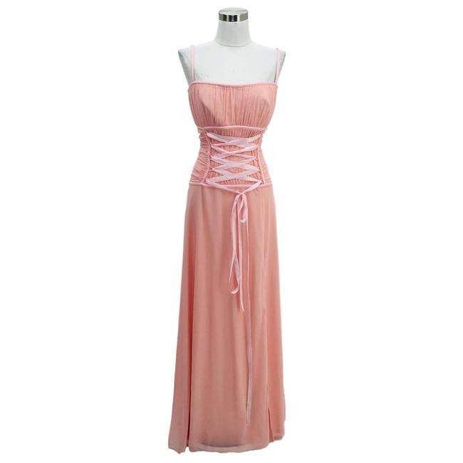 Item - Pink N1137 Vintage Small Maxi Lace Up Long Formal Dress Size 6 (S)