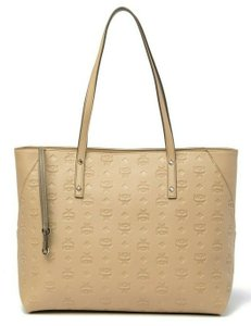 MCM Leather Nude Summer Logo Tote in BEIGE TAN