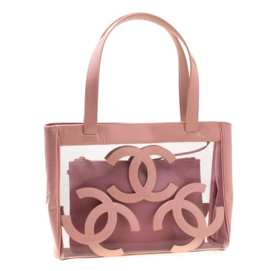 Chanel Patent Leather Canvas Tote in Pink Image 1