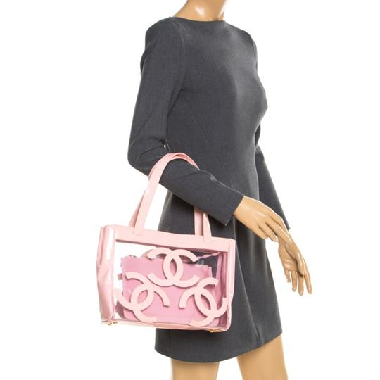 Chanel Patent Leather Canvas Tote in Pink Image 2