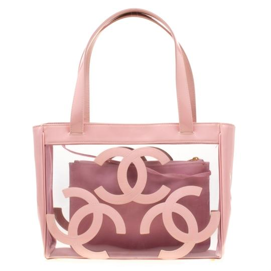 Chanel Patent Leather Canvas Tote in Pink Image 6