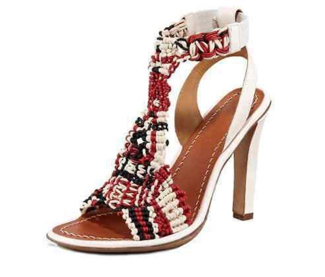 Item - White Red Black Crochet Leather Strap Sandals Size EU 36 (Approx. US 6) Regular (M, B)