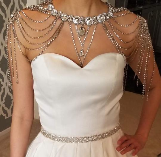 Silver New Bride Shoulder Chain Top Crystal Choker Necklace Jewelry Set Image 1