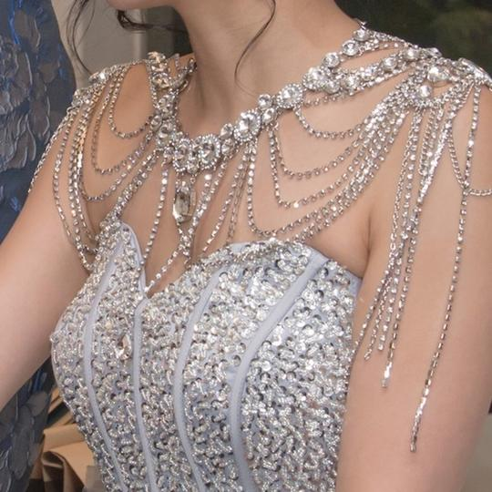 Silver New Bride Shoulder Chain Top Crystal Choker Necklace Jewelry Set Image 2