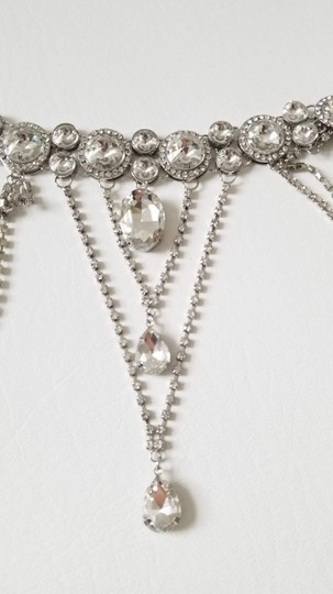 Silver New Bride Shoulder Chain Top Crystal Choker Necklace Jewelry Set Image 3