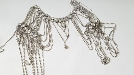 Silver New Bride Shoulder Chain Top Crystal Choker Necklace Jewelry Set Image 4