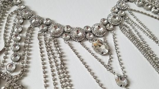 Silver New Bride Shoulder Chain Top Crystal Choker Necklace Jewelry Set Image 5