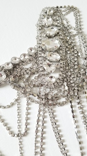 Silver New Bride Shoulder Chain Top Crystal Choker Necklace Jewelry Set Image 6