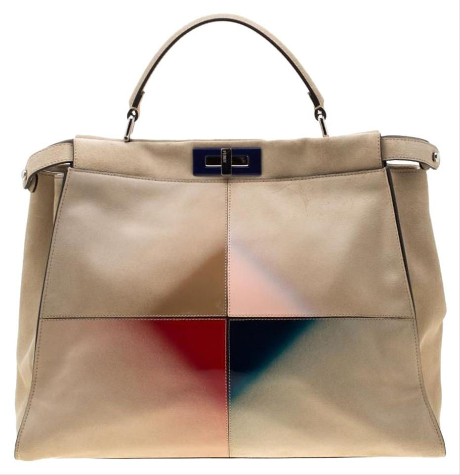 09bfb9f2 Fendi Beige Airbrushed and Leather Large Peekaboo Yellow Suede Tote
