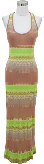 Item - Brown Green N1163 6 Small Striped Long Casual Maxi Dress Size 4 (S)