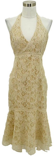 Item - Beige White N1116 Small Lace Halter Long Formal Dress Size 4 (S)