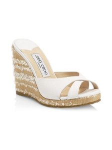 Jimmy Choo Slip On Open Toe Logo Textured Canvas White Wedges
