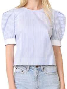 Adam Lippes Top White with light blue stripes