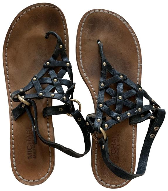 Item - Black and Brown Leather with Studs Sandals Size US 8.5 Regular (M, B)