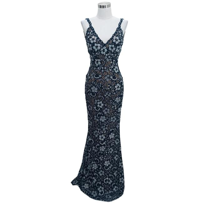 Item - Blue Silver XS B1 Lace Iridescent Sequin Long Formal Dress Size 2 (XS)