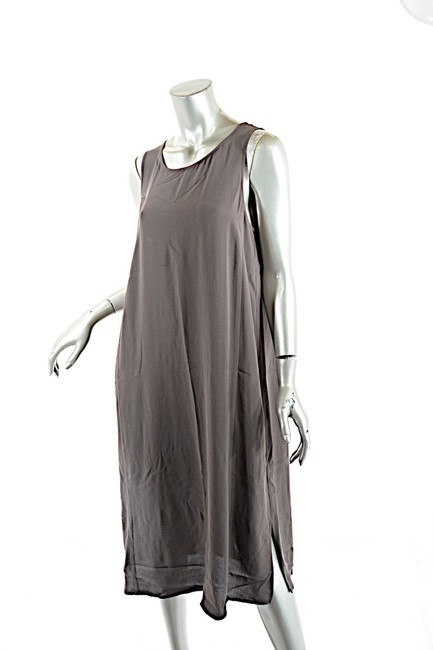 Item - Charcoal Grey Silk Georgette Crepe Tank Tunic Mid-length Casual Maxi Dress Size 10 (M)