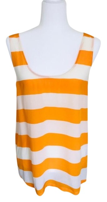 Joie Orange White Striped Silk Tank Top/Cami Size 6 (S) Joie Orange White Striped Silk Tank Top/Cami Size 6 (S) Image 1