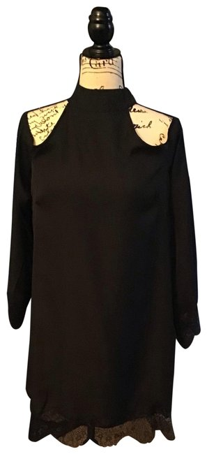 Item - Black Cold Shoulder with Lace Mid-length Night Out Dress Size 12 (L)