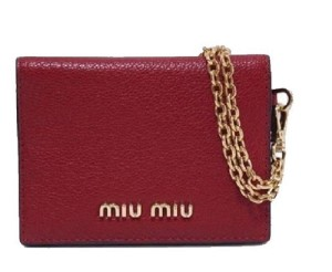 Miu Miu Mui Mui Fuoco Red Leather Credit Card Holder Wallet with Madras Chain
