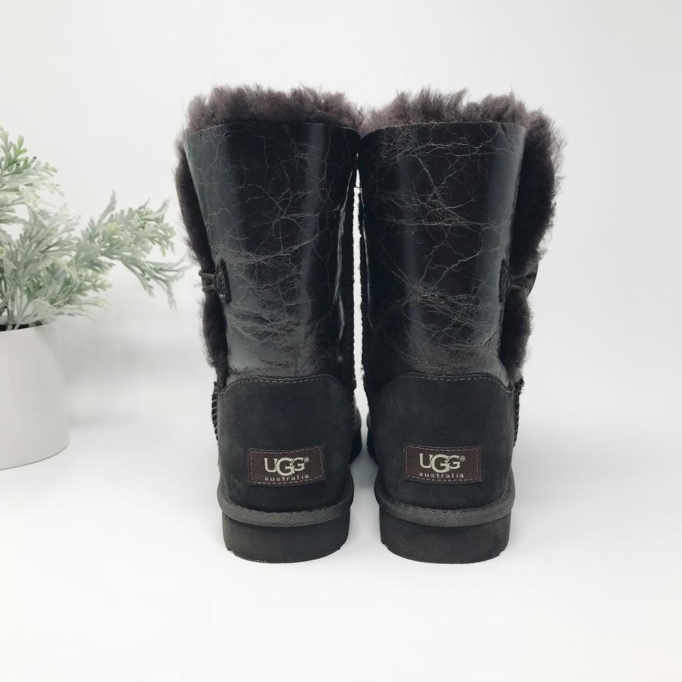 3e19d3c88b7 UGG Australia Chocolate Brown Bailey Button Krinkle Leather Dark  Boots/Booties Size US 7 Regular (M, B) 39% off retail