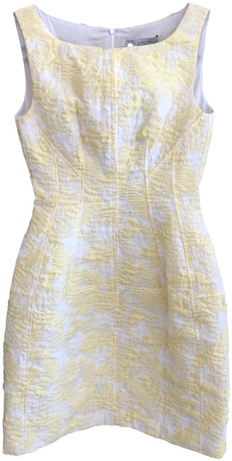 Item - Yellow Light Yellow Italy Floral Print Jacquard Trapeze Mid-length Cocktail Dress Size 4 (S)