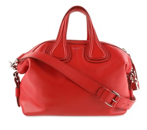 Givenchy Calfskin Leather Silver Hardware Satchel in Red