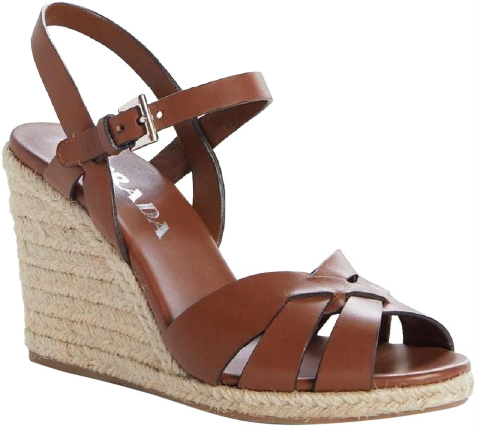 28a576556e2 Prada Brown New Espadrille Wedge Strappy Leather Sandals Size EU 39  (Approx. US 9) Regular (M, B) 55% off retail
