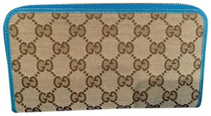 Gucci Gucci Green/Brown GG Fabric Canvas Zip Wallet