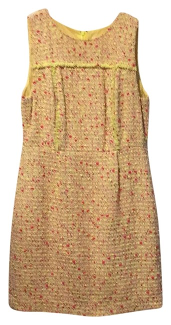 Item - Bright Yellow and Pink Tailored Tweed Mid-length Work/Office Dress Size 8 (M)
