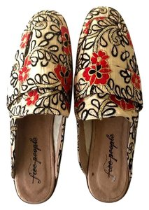 Free People Brocade Embroidered Sequin Yellow, Red, Black, Gold Mules