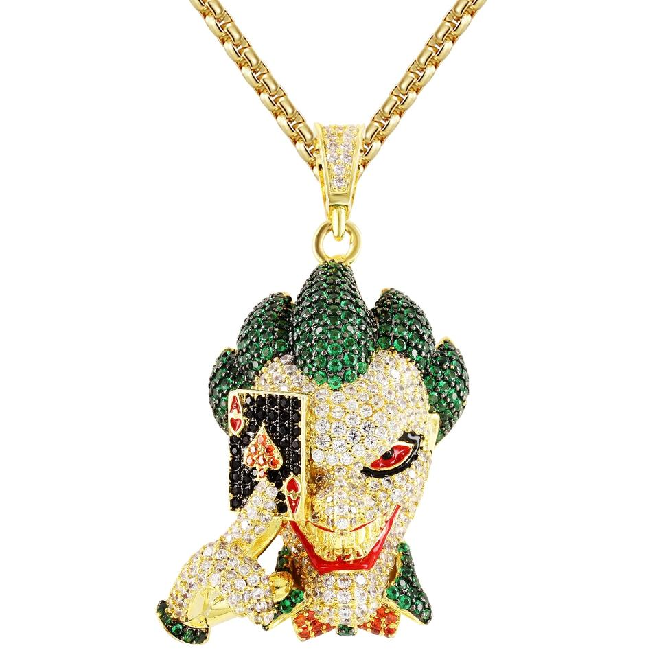 Master Of Bling Gold Finish Character Joker Face Ace Playing Card Custom  Pendant Necklace 79% off retail