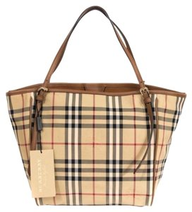 Burberry Check Horseferry Tote in Tan/Honey