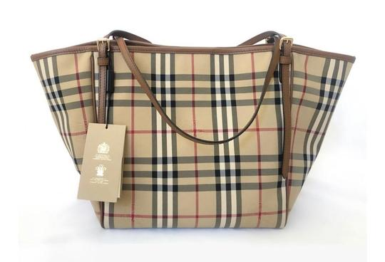 Burberry Check Horseferry Tote in Tan/Honey Image 3