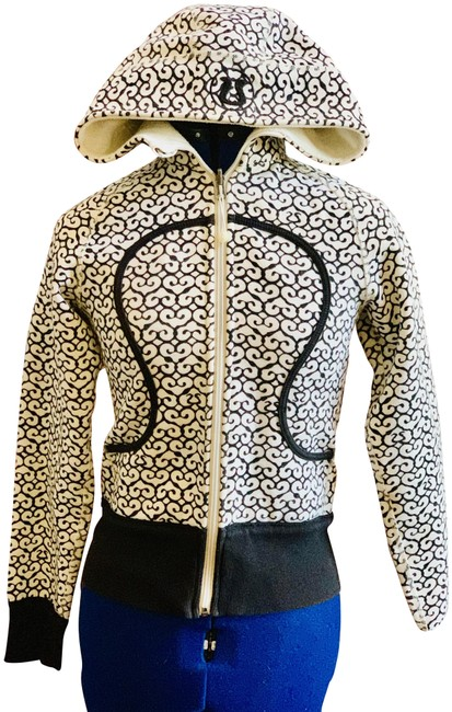Item - Black and White (Cream) Zip Front Hooded Activewear Outerwear Size 00 (XXS)