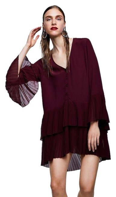 Item - Purple Pleated Blouse Short Night Out Dress Size 2 (XS)