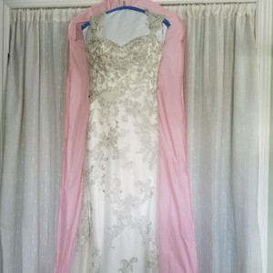 Maggie Sottero Ivory and Pewter Jade Vintage Wedding Dress Size 4 (S)