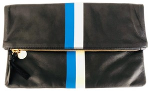Clare V. Black with blue and white stripes Clutch