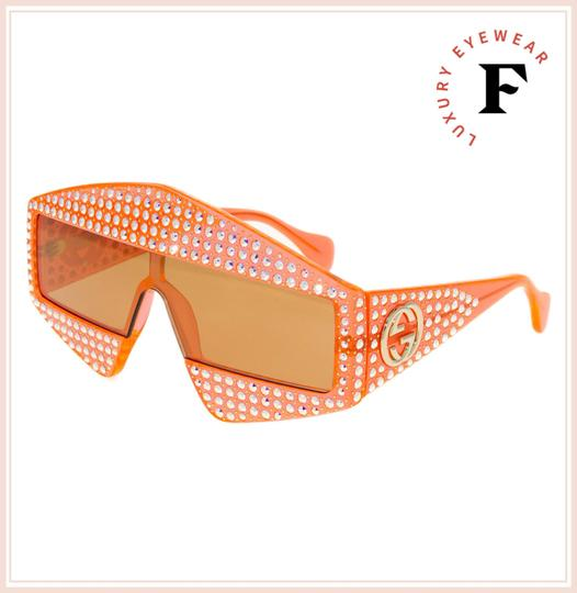 Gucci GUCCI HOLLYWOOD FOREVER 0357 Orange Crystal Unisex Mirrored GG0357S Image 3