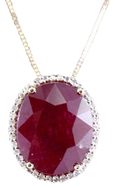 Red Oval Cut Ruby & Diamond Pendant 14k Rose Gold 11.18ct Necklace Red Oval Cut Ruby & Diamond Pendant 14k Rose Gold 11.18ct Necklace Image 1