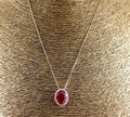 Other Oval Cut Red Ruby & Diamond Necklace Pendant 14k Rose Gold 11.18Ct Image 1