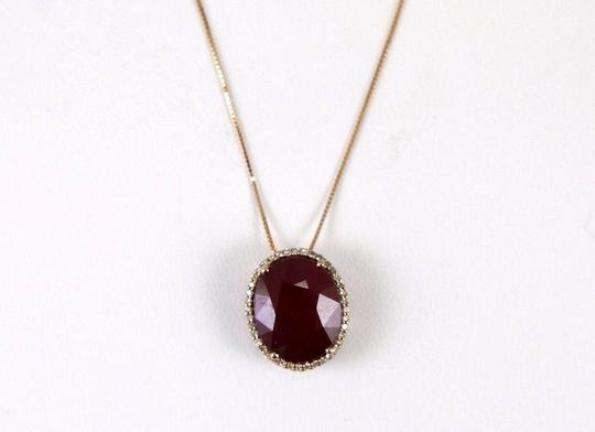 Other Oval Cut Red Ruby & Diamond Necklace Pendant 14k Rose Gold 11.18Ct Image 3